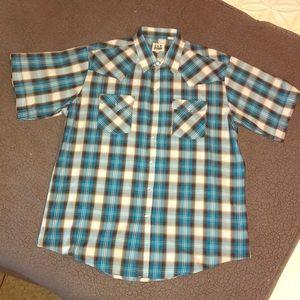 NWOT blue plaid pearl snap-men's XL